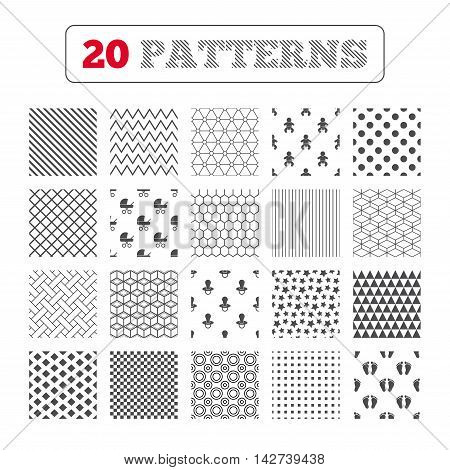 Ornament patterns, diagonal stripes and stars. Baby infants icons. Toddler boy with diapers symbol. Buggy and dummy signs. Child pacifier and pram stroller. Child footprint step sign. Geometric textures. Vector