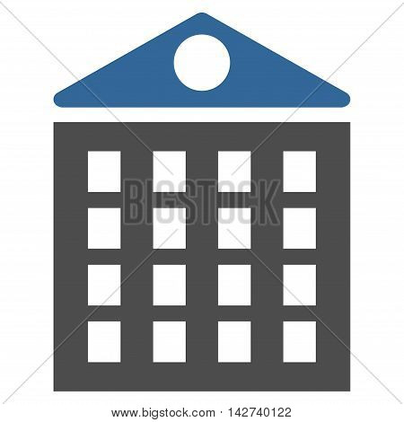Multi-Storey House icon. Vector style is bicolor flat iconic symbol with rounded angles, cobalt and gray colors, white background.