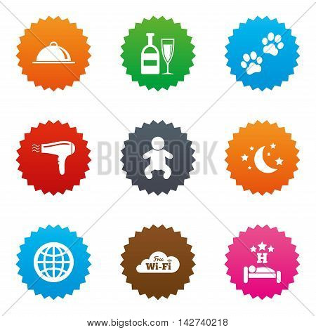 Hotel, apartment service icons. Restaurant sign. Alcohol drinks, wi-fi internet and sleep symbols. Stars label button with flat icons. Vector