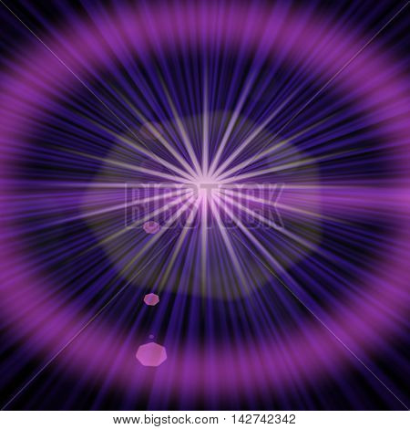 Star and long rays and purple color circle.