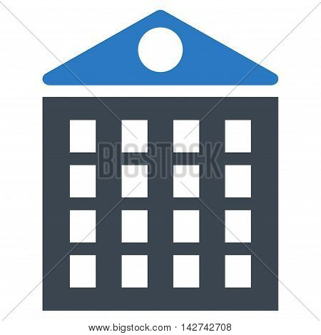 Multi-Storey House icon. Vector style is bicolor flat iconic symbol with rounded angles, smooth blue colors, white background.