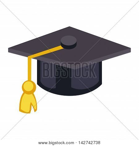 Graduation cap diploma hat icon vector illustration. University school graduation hat icon and student ceremony graduation symbol. Achievement academic degree graduate success