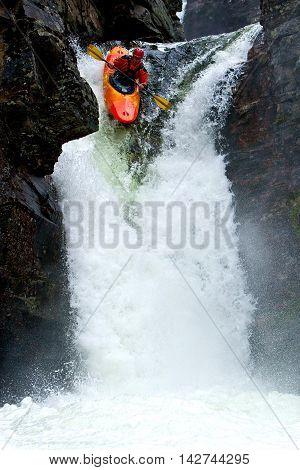 Kayak trip on the waterfalls in Norway. July 2010