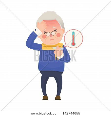 Vector Illustration of Sick Old Man Suffering from a Fever and Checking His Temperature on a Thermometer while Clutching at His Forehead. Cartoon Character.