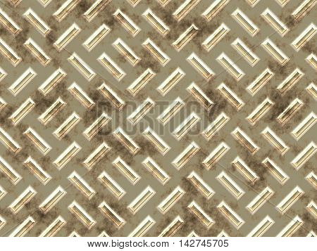 The rectangular bulges on a dirty, golden metal surface.