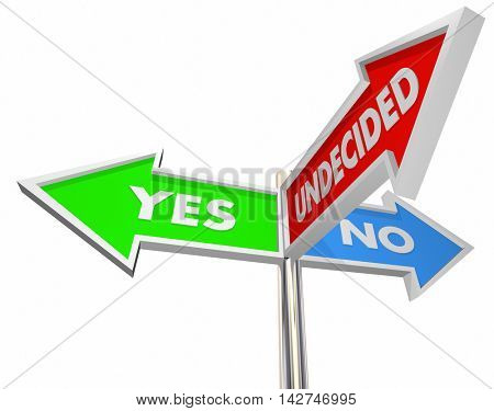 Yes No Undecided Three Way Signs Unsure 3d Illustration