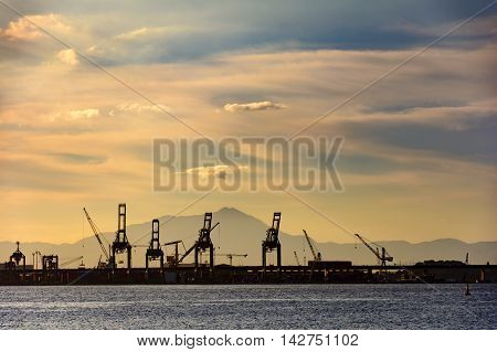 Sunset on the terminal port dock charges in Rio de Janeiro