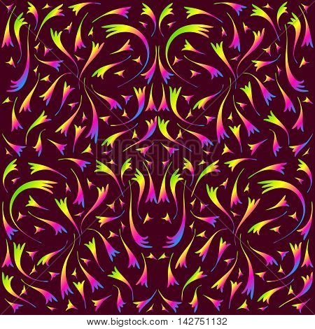 Rainbow symmetrical pattern. The pattern of double lines on a burgundy background.