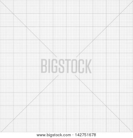 Graph seamless millimeter grid paper. Vector engineering light gray and white color background