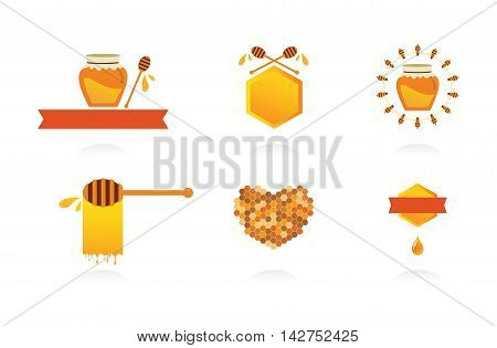 Set of honey labels, icons and design elements. vector illustration