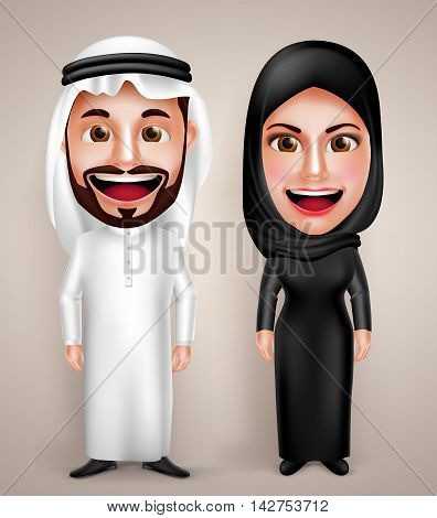 Muslim arab man and woman vector character wearing arabic traditional abaya and thawb dress with friendly smile. Vector illustration.