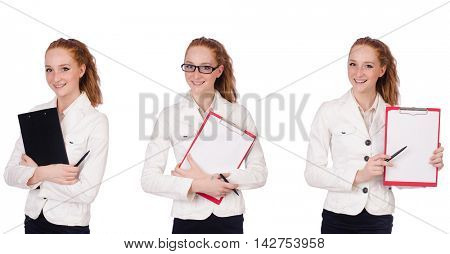Businesswoman with paperpad isolated on white