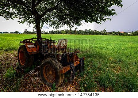 The Tractor on the Rice Cornfield Phichit Thailand