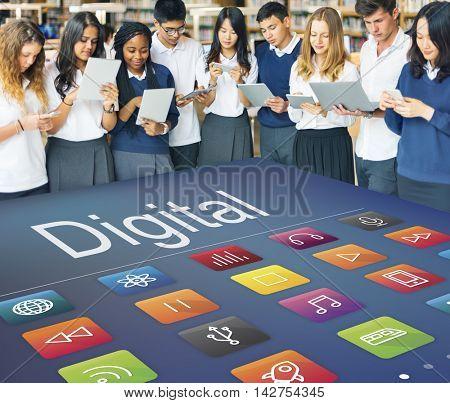 Multimedia Connection Digital Content Futuristic Concept