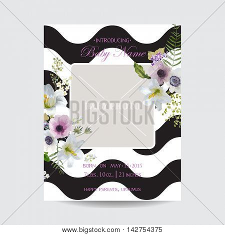 Baby Arrival or Shower Card - with Photo Frame and Vintage Lily Blossom Design - in vector