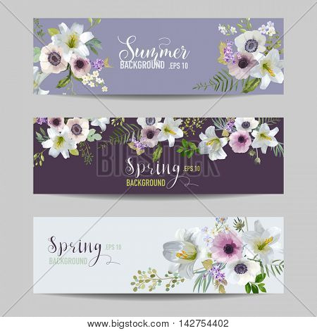Lily and Anemone Flowers Floral Banners and Tags Set - in vector