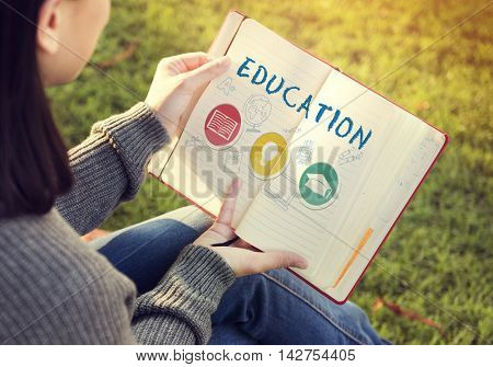 Education Word Lightbulb Hat Book Icon Graphic Concept