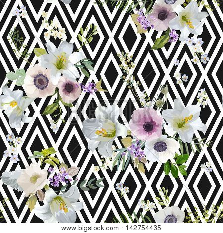 Vintage Lily and Anemone Flowers Geometric Background - Summer Seamless Pattern in Vector