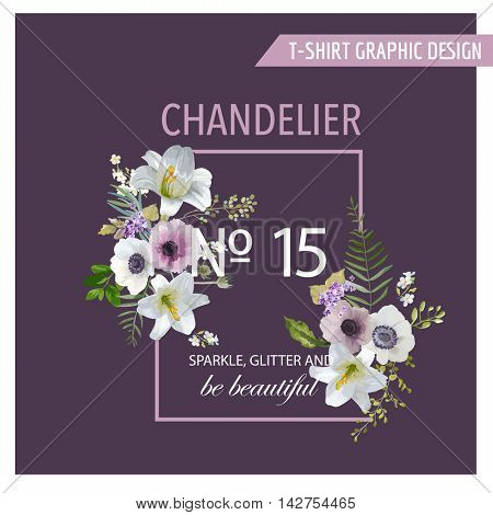 Vintage Colorful Flowers Graphic Design - Lilies and Anemones - for T-shirt, Fashion, Prints - in vector