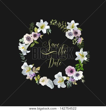 Save the Date - Lily and Anemone Flowers Card. Wedding Invitation in Vector