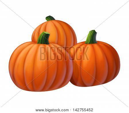 three yellow pumpkin on a white background