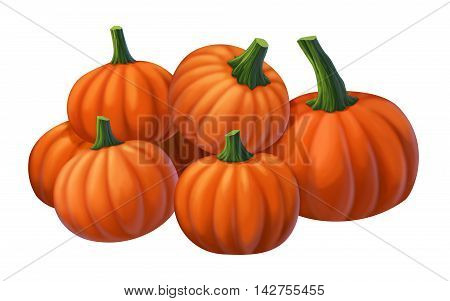 Lot of yellow pumpkin on a white background