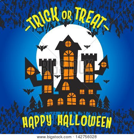 Vector Halloween Haunted Maison Illustration, Trick or Treat celebrating for Happy Halloween