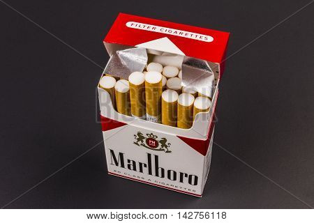 Indianapolis - Circa August 2016: Marlboro Cigarettes. Marlboro is a product of the Altria Group VI