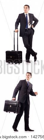 Young businessman during business trip