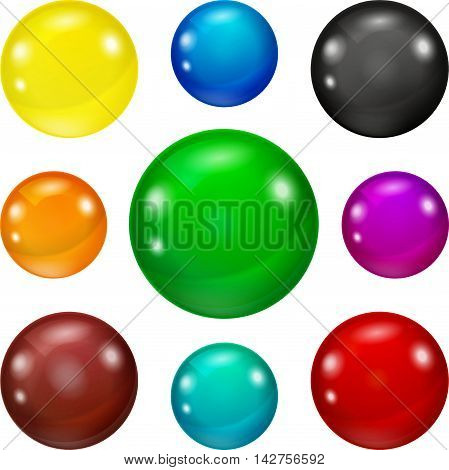Set of colored spheres on a white background. Coloured balls isolated. Vector illustration of coloured glossy and shiny network sphere icon. Eps 10