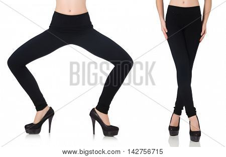 Black leggings in beauty fashion concept isolated on white