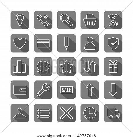 Icon set e-Commerce. Flat linear design, shopping symbols and elements. Vector illustration