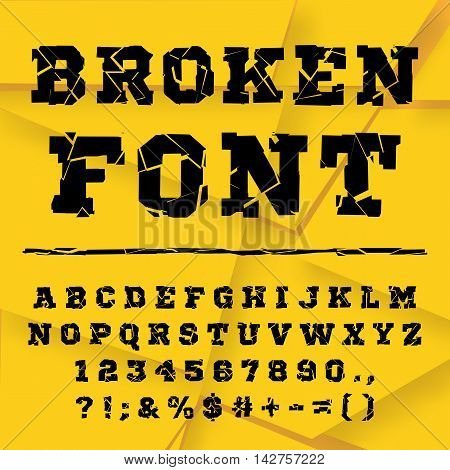 Black font from the broken into fragments letters. Broken alphabet. Broken letters. Decorative alphabet. Stencil type. Full set