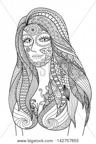 Doodle design of sexy girl dress up for Halloween party , design for Halloween design element and adult coloring - Stock vector