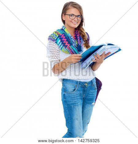 beautiful young woman with books, isolated on white background