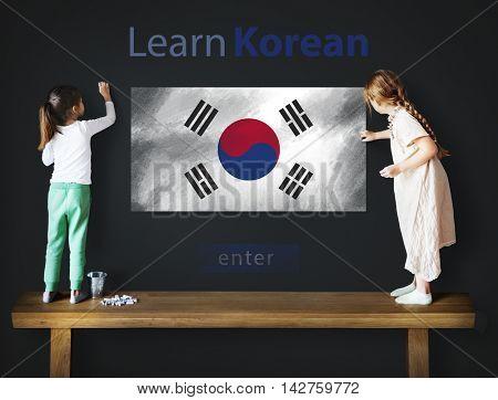 Learn Korean Language Online Education Concept