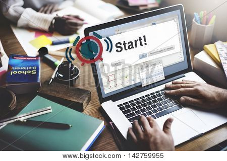 Start Beginning Forward Start up Launch First Activation Concept