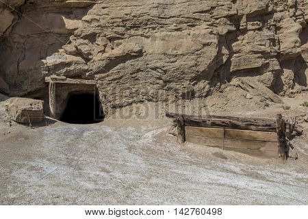Long abandoned Dirty Devil uranium mine in Emery County Utah in the San Rafael Swell near Hondu Arch.