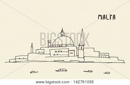 Sketch of a Malta view, vector illustration, hand drawn