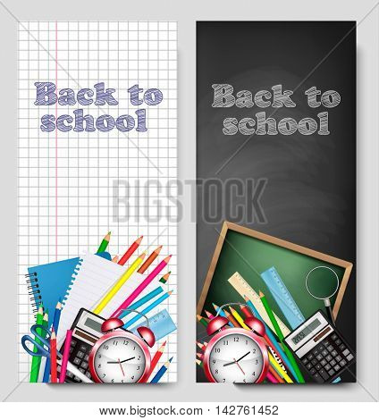 Back to school banners. Vector illustration