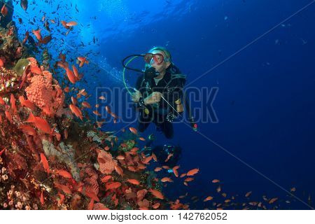 Scuba dive. Woman scuba diver. Scuba diving coral reef with fish