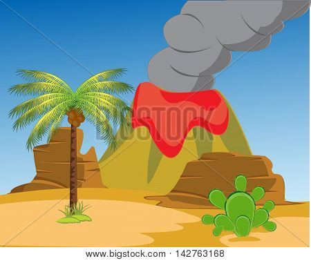 Desert with cactus and palm and acting vulcan