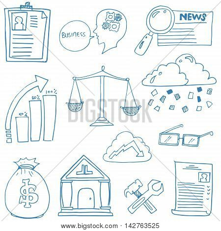 Doodle of hand draw business illustration design stock