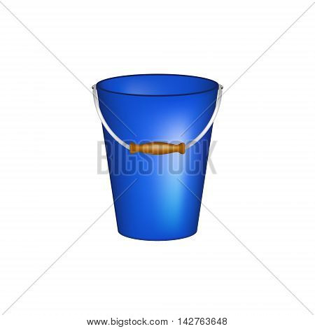 Bucket in blue design on white background
