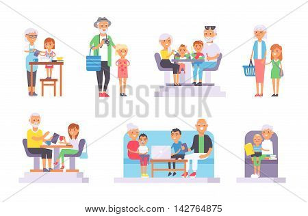 All age group of european young and oldpeople. Generations man and woman old and young people . Stages of development people - infancy, childhood, youth, old age. Old and young people set.