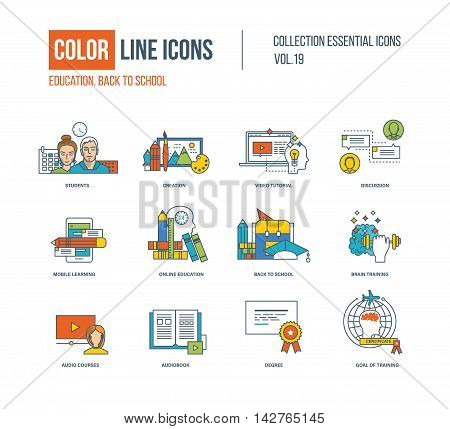 Color thin Line icons set. Back to school, creation, video tutorial, discussion, mobile learning and education, brain training, audio courses, audiobook, goal of training. Colorful logo and pictograms