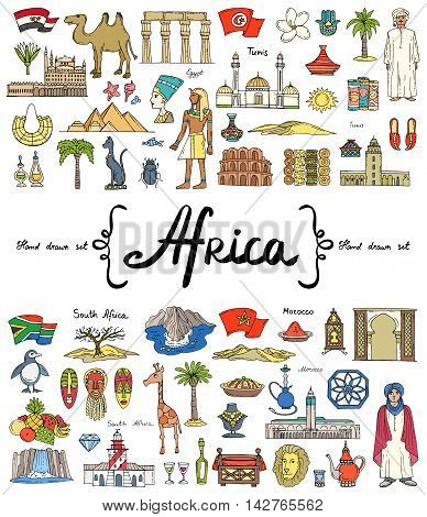 Vector set with hand drawn colored doodles on the theme of Africa. Flat illustrations of attractions souvenirs. Symbols of Egypt Tunis South Africa Morocco. Sketches for use in design