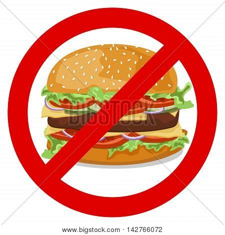 The sign forbidding a hamburger with tomatoes onions cucumbers lettuce meat patties with melted cheese and sesame seeds on a white background