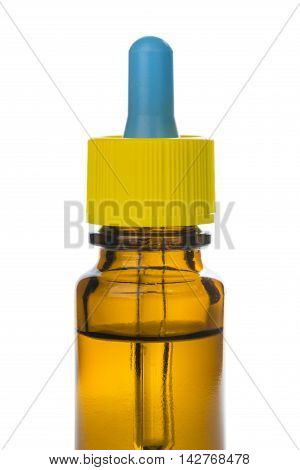 Closeup Of Brown Medicine Glass Bottle With Dropper Isolated Over White