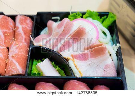 Pink Kamaboko Sliced, Japanese Fish Cake, Pork Belly Sliced And Kurobuta Pork Slices With Bacon And